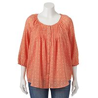 Plus Size SONOMA Goods for Life™ Pintuck Peasant Top Set
