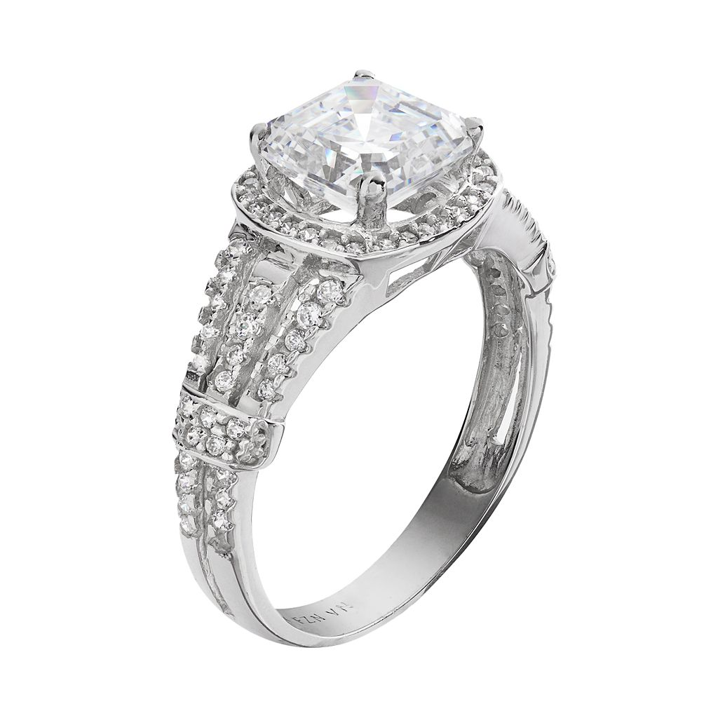 Cubic Zirconia 10k White Gold Ring