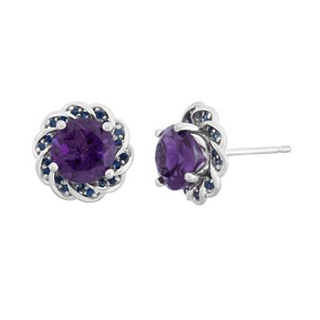 Amethyst & Lab-Created Blue Sapphire Sterling Silver Flower Button Stud Earrings