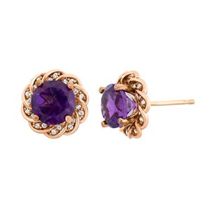 Amethyst and Lab-Created White Sapphire 14k Rose Gold Over Silver Flower Button Stud Earrings