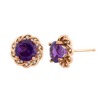 Amethyst & Lab-Created White Sapphire 14k Rose Gold Over Silver Flower Button Stud Earrings