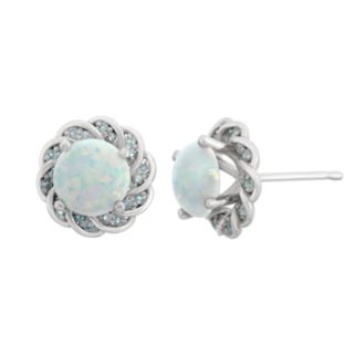 Lab-Created Opal and Blue Topaz Sterling Silver Flower Button Stud Earrings