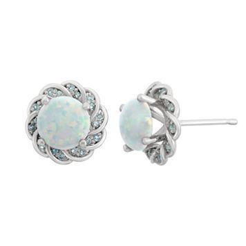 Lab-Created Opal & Blue Topaz Sterling Silver Flower Button Stud Earrings