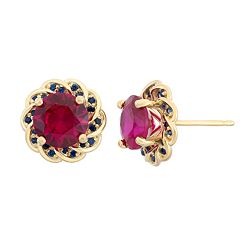 Lab-Created Ruby & Lab-Created Blue Sapphire 14k Gold Over Silver Flower Button Stud Earrings