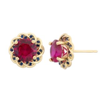 Lab-Created Ruby and Lab-Created Blue Sapphire 14k Gold Over Silver Flower Button Stud Earrings
