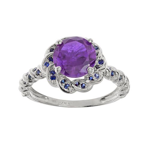 Amethyst & Lab-Created Sapphire Sterling Silver Flower Ring