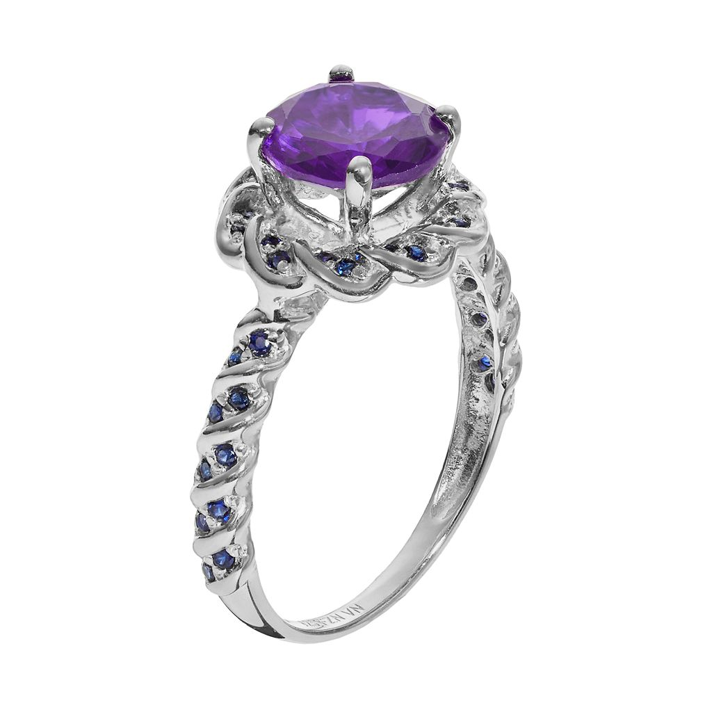Amethyst and Lab-Created Sapphire Sterling Silver Flower Ring