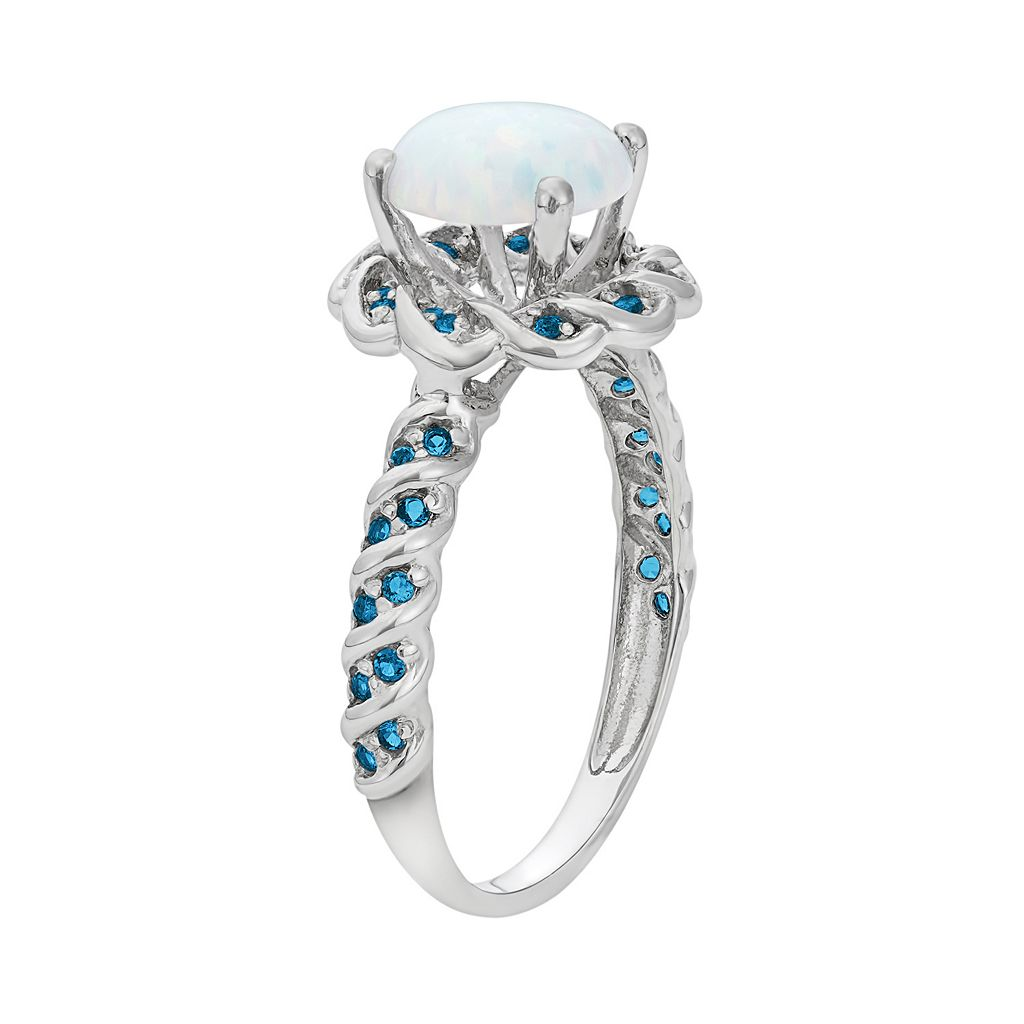 Lab-Created Opal and Blue Topaz Sterling Silver Flower Ring