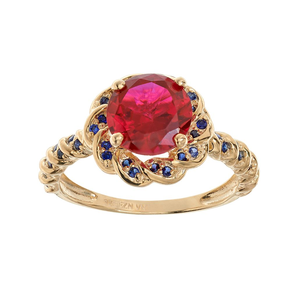 Lab-Created Ruby & Lab-Created Sapphire 14k Gold Over Silver Flower Ring
