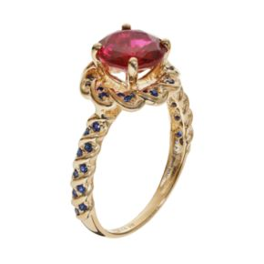 Lab-Created Ruby and Lab-Created Sapphire 14k Gold Over Silver Flower Ring