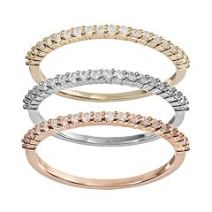 Lab-Created White Sapphire Two Tone 14k Gold Over Silver & Sterling Silver Stack Ring Set