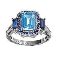 Blue Topaz & Lab-Created Sapphire Sterling Silver Tiered Rectangle Ring