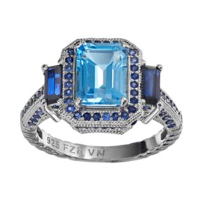 Blue Topaz and Lab-Created Sapphire Sterling Silver Tiered Rectangle Ring