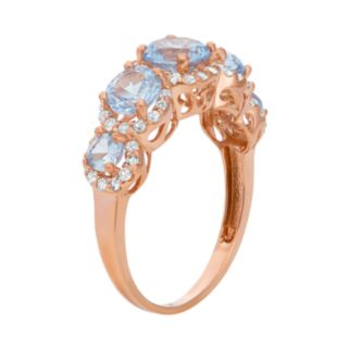 Lab-Created Aquamarine and Lab-Created White Sapphire 14k Rose Gold Over Silver 5-Stone Halo Ring