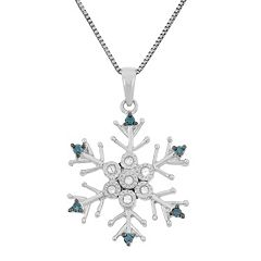 1/10 Carat T.W. Blue & White Diamond Sterling Silver Snowflake Pendant Necklace