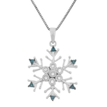 1/10 Carat T.W. Blue and White Diamond Sterling Silver Snowflake Pendant Necklace