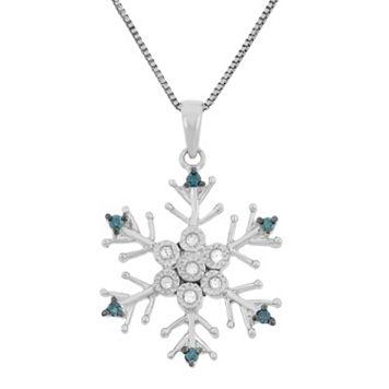1/10 Carat T.W. Blue & White Diamond Sterling Silver Snowflake Pendant Necklace