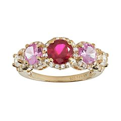 Gemstone 14k Gold Over Silver 5-Stone Halo Ring