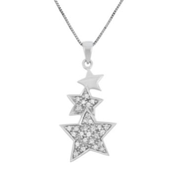 1/5 Carat T.W. Diamond Sterling Silver Triple Star Pendant Necklace