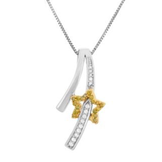 1/6 Carat T.W. Yellow and White Diamond Sterling Silver and 18k Gold Two Tone Shooting Star Pendant Necklace