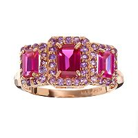 Lab-Created Ruby & Amethyst 14k Rose Gold Over Silver Rectangle Halo Ring