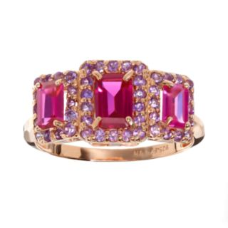 Lab-Created Ruby and Amethyst 14k Rose Gold Over Silver Rectangle Halo Ring