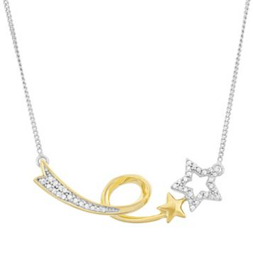 1/6 Carat T.W. Diamond Sterling Silver & 18k Gold Two Tone Shooting Star Necklace