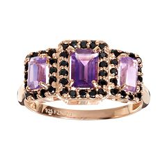 Amethyst & Spinel 14k Rose Gold Over Silver Rectangle Halo Ring