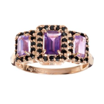 Amethyst and Spinel 14k Rose Gold Over Silver Rectangle Halo Ring