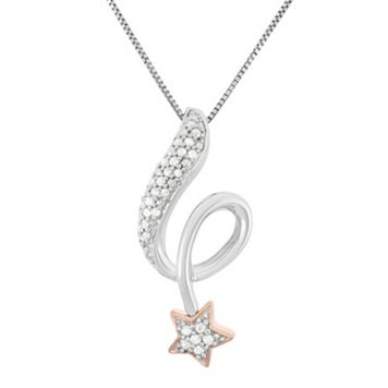 1/6 Carat T.W. Diamond Sterling Silver & 18k Gold Two Tone Falling Star Pendant Necklace