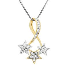 1/6 Carat T.W. Diamond Sterling Silver & 18k Gold Two Tone Triple Star Pendant Necklace