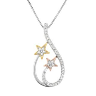 1/5 Carat T.W. Diamond Sterling Silver and 18k Gold Tri-Tone Star Teardrop Pendant Necklace