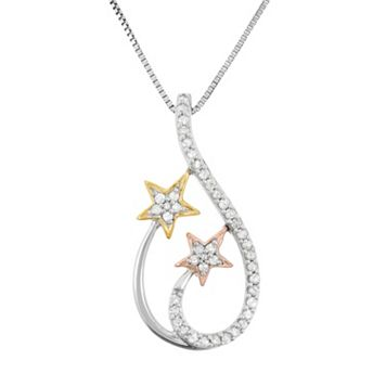 1/5 Carat T.W. Diamond Sterling Silver & 18k Gold Tri-Tone Star Teardrop Pendant Necklace