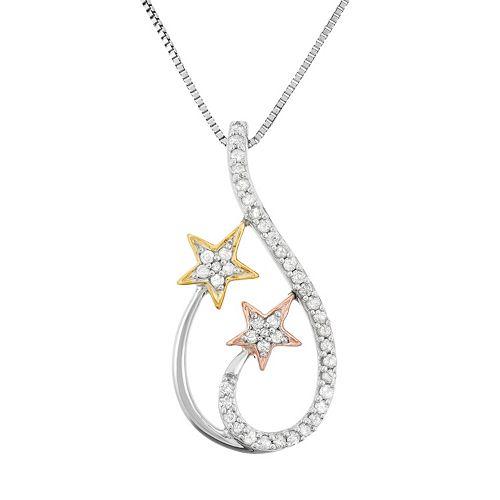 1/5 Carat T.W. Diamond Sterling Silver & 18k Gold Tri-Tone Star Teardrop Pendant Necklace