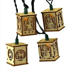 Kurt Adler Wooden Lantern Christmas String Light Set