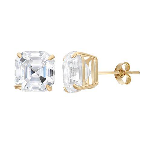 Cubic Zirconia 10k Gold Solitaire Earrings