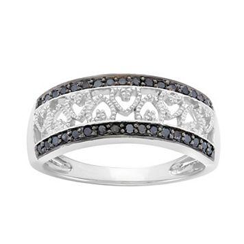 1/4 Carat T.W. Black & White Diamond Sterling Silver Heart Ring