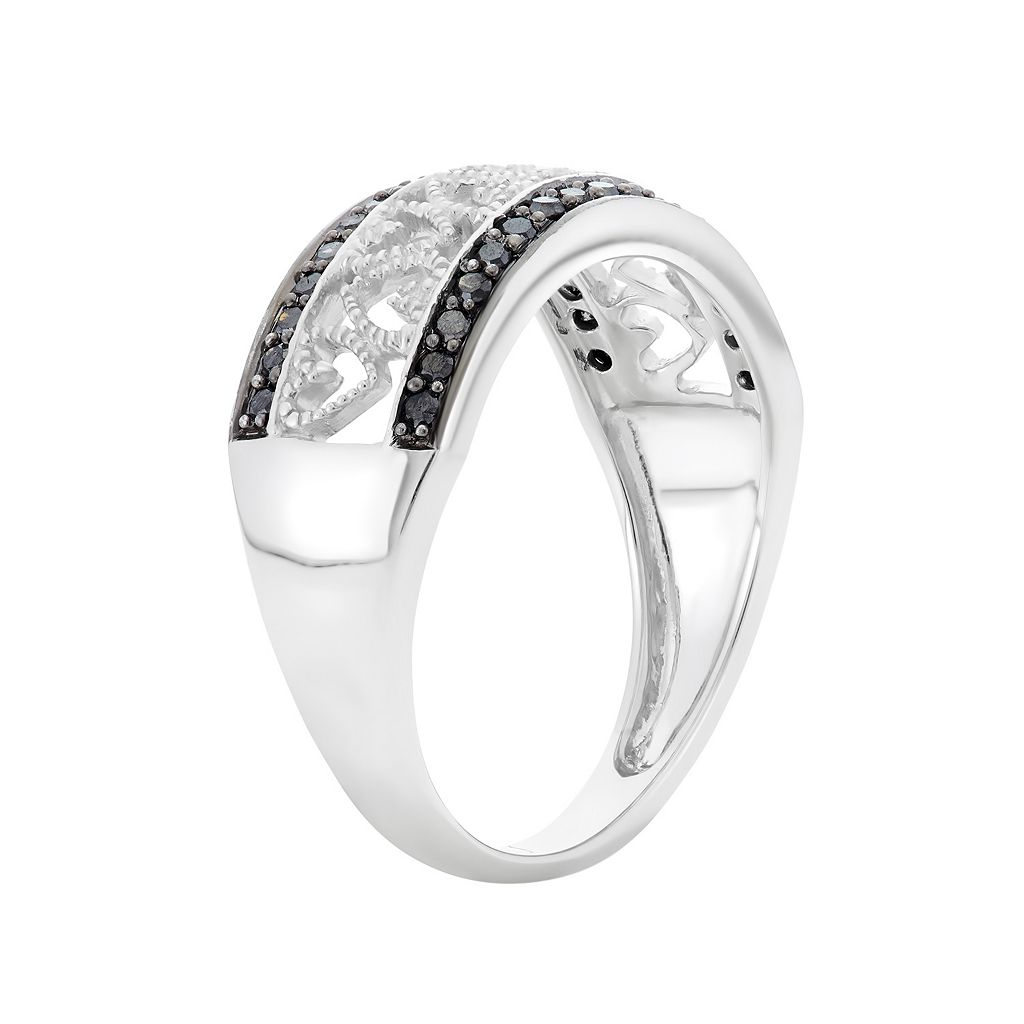1/4 Carat T.W. Black and White Diamond Sterling Silver Heart Ring