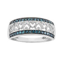 1/4 Carat T.W. Blue & White Diamond Sterling Silver Heart Ring