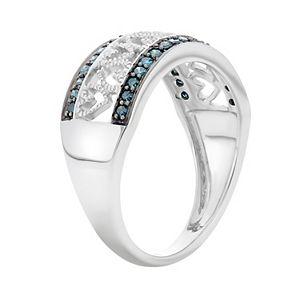 1/4 Carat T.W. Blue & White Diamond Sterling Silver Heart Ring