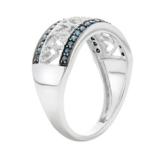 1/4 Carat T.W. Blue and White Diamond Sterling Silver Heart Ring