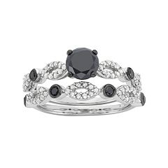 Black & White Diamond Engagement Ring Set in Sterling Silver (1 1/2 Carat T.W.)
