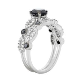 Black and White Diamond Engagement Ring Set in Sterling Silver (1 1/2 Carat T.W.)