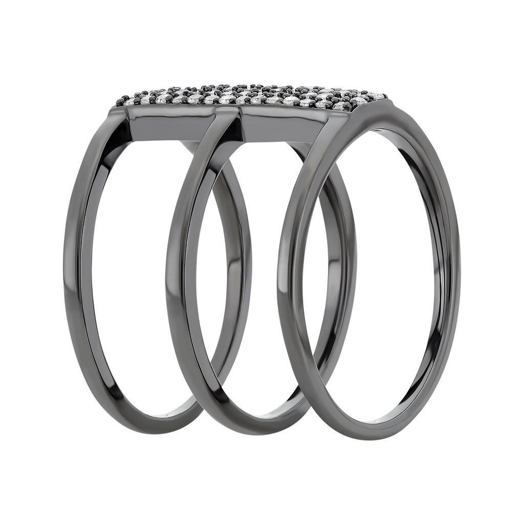 1/3 Carat T.W. Diamond Black Rhodium-Plated Sterling Silver Triple Ring