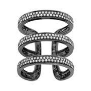 1 Carat T.W. Diamond Black Rhodium-Plated Sterling Silver Triple Ring