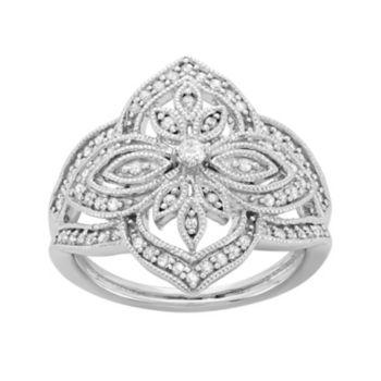 3/8 Carat T.W. Diamond Sterling Silver Flower Ring