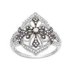 3/8 Carat T.W. Diamond Sterling Silver Flower & Cross Ring