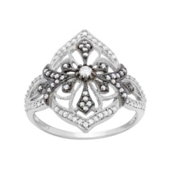 3/8 Carat T.W. Diamond Sterling Silver Flower and Cross Ring