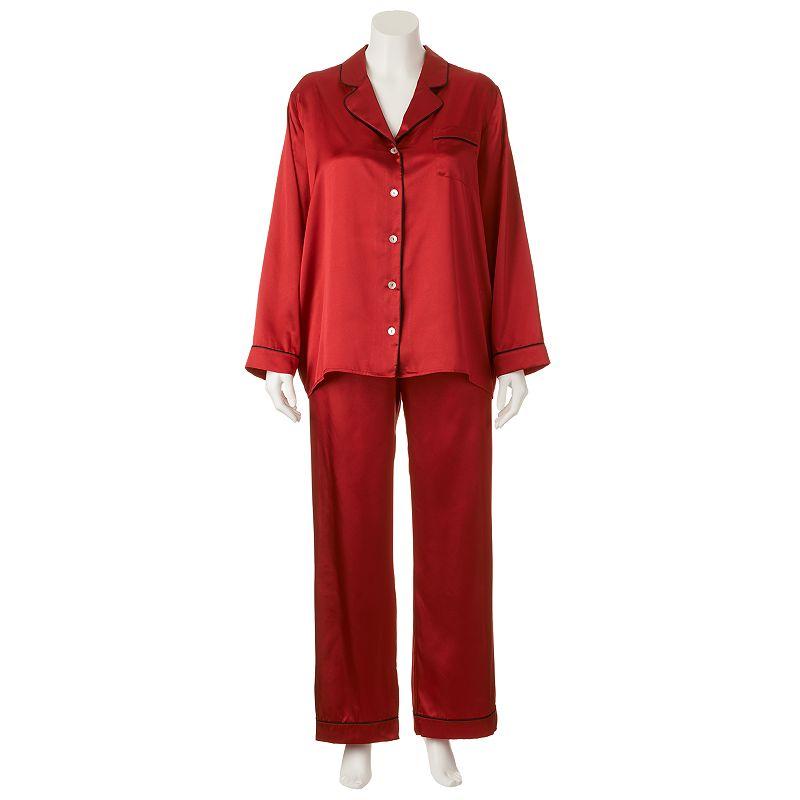 Apt. 9 Pajamas: Satin Notch Collar Pajama Set - Women's Plus Size