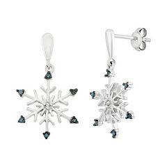 Diamond Accent Sterling Silver Snowflake Drop Earrings